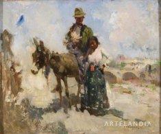 José Navarro Llorens - Gitanos con un burro